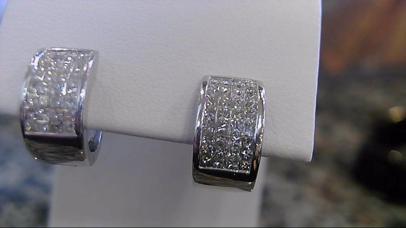 Gold-Diamond Earrings 64 Diamonds .64 Carat T.W. 14K White Gold 5.5g