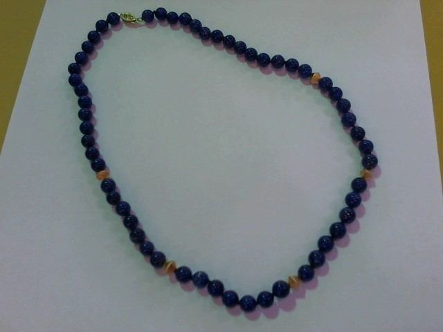 Synthetic Lapis Stone Necklace 14K Yellow Gold 4g