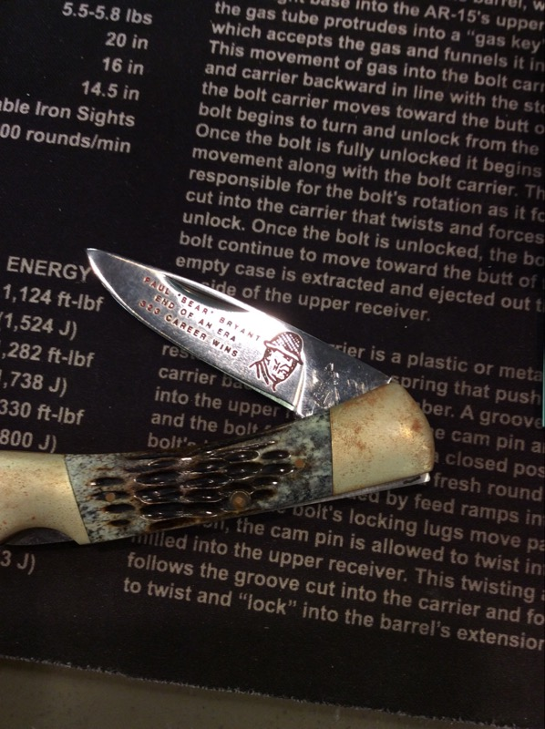 "FROST CUTLERY Pocket Knife PAUL ""BEAR"" BRYANT ""END OF AN ERA"" KNIFE"