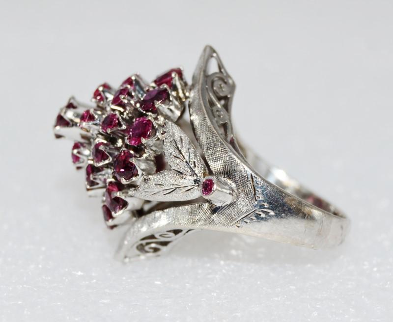 18K White Gold Gorgeous Natural Ruby Thai Princess Harem Filigree Ring sz 6.25