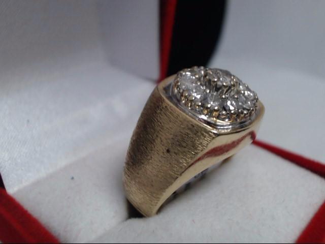 Gent's Diamond Cluster Ring 11 Diamonds 1.53 Carat T.W. 10K Yellow Gold 11.5g
