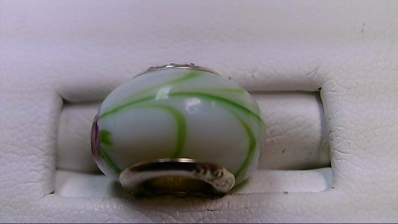White Pink and Green Glass Bead 925 Silver