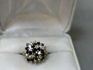 Sapphire Lady's Stone & Diamond Ring 16 Diamonds .80 Carat T.W. 14K Yellow Gold
