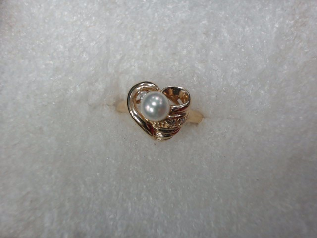 Synthetic Pearl Lady's Stone Ring 14K Yellow Gold 1.89dwt