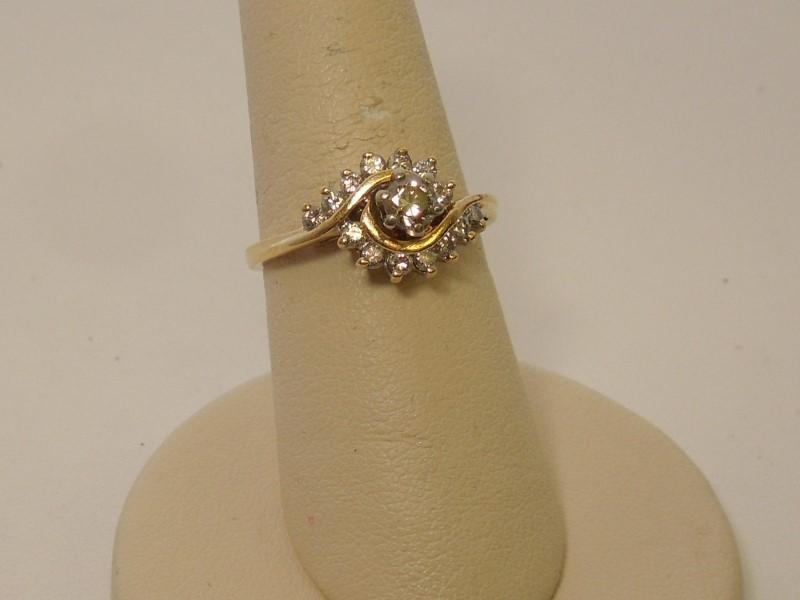 Lady's Diamond Engagement Ring 15 Diamonds .57 Carat T.W. 14K Yellow Gold 3.5g