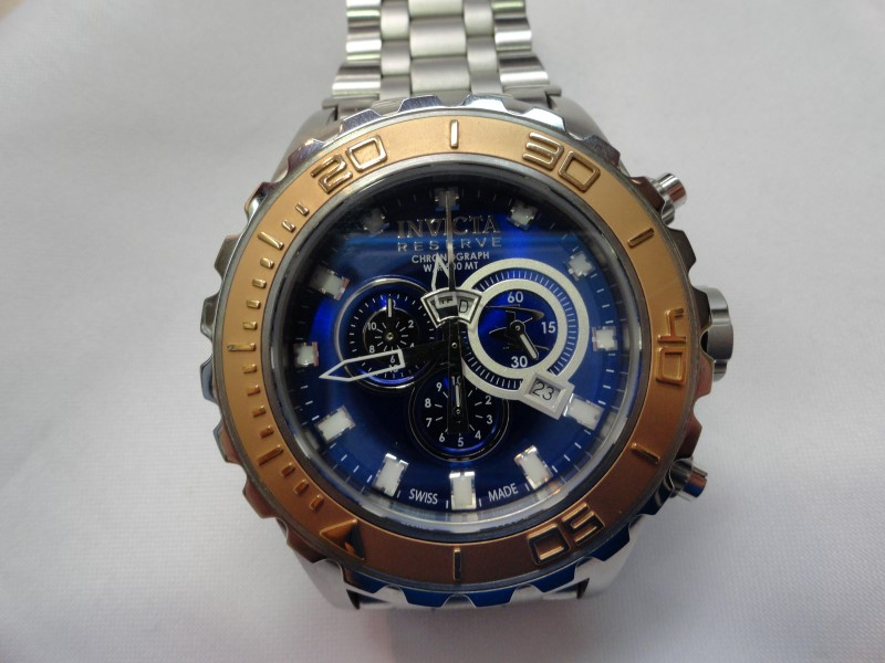 Invicta 14035 Sub Aqua Reserve Blue Face Chronograph, Stainless Steel Band