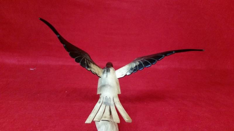 Handcarved Wooden Soaring Eagle - Signed by Artist