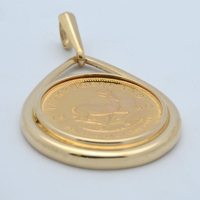 1980 SOUTH AFRICA 1/4 OZ GOLD KRUGERRAND .999 COIN 14K DROP BEZEL