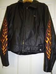 OFFICIAL HARLEY DAVIDSON LADIES FLAME LEATHER JACKET SIZE L