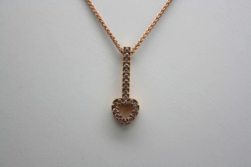 DIAMOND HEART SHAPE PENDANT 14K ROSE GOLD