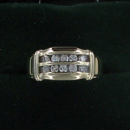 Gent's Diamond Fashion Ring 10 Diamonds .30 Carat T.W. 10K Yellow Gold 4.8dwt