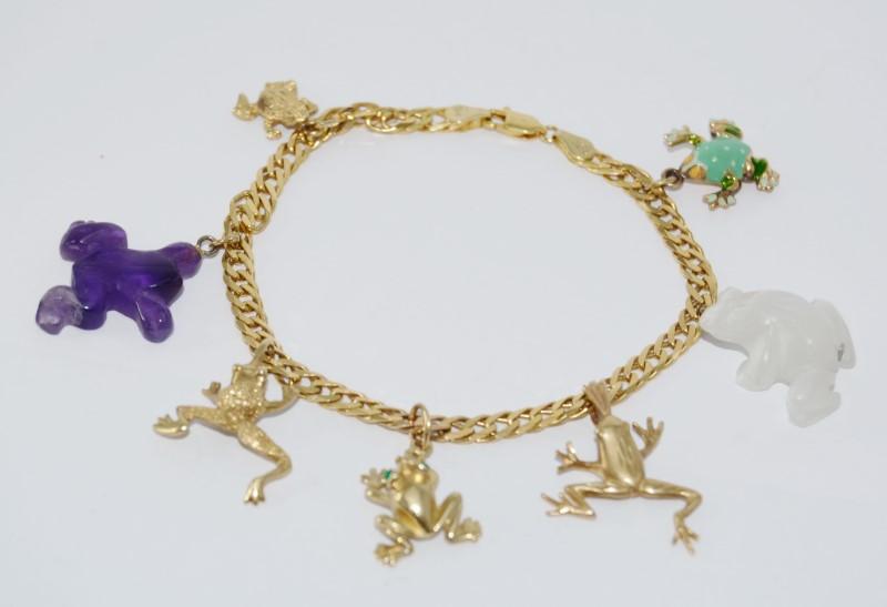 14K Yellow Gold Curb Chain Purple & White Jade Green Enamel Frog Charm Bracelet