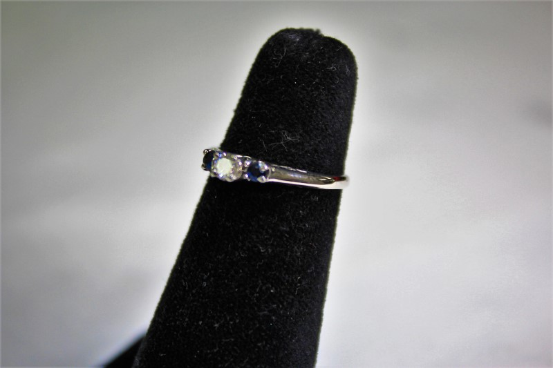 Blue Stone Lady's Stone & Diamond Ring .15 CT. 14K White Gold 2.3g