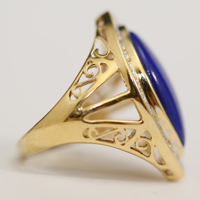 Marquise Lapis & Channel Set Diamond Ring W/ Filigree Detail Size 7
