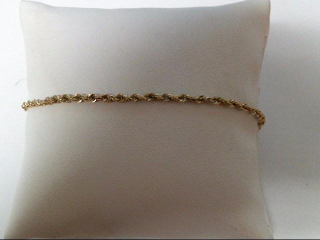 Gold Rope Bracelet 10K Yellow Gold 1.4g