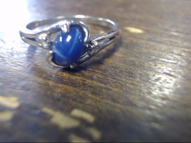 Blue Stone Lady's Stone & Diamond Ring 2 Diamonds .02 Carat T.W. 10K White Gold