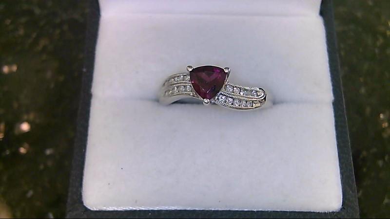 Lady's Synthetic Almandite Garnet & Diamond 10K White Gold Ring