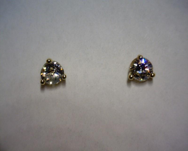 Gold-Diamond Earrings 2 Diamonds .55 Carat T.W. 14K Yellow Gold 0.7dwt