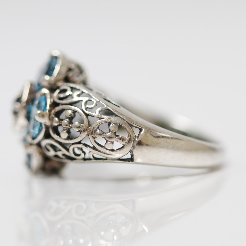 Unique Vintage Inspired Sterling Silver & Aquamarine Ring Size 7.25