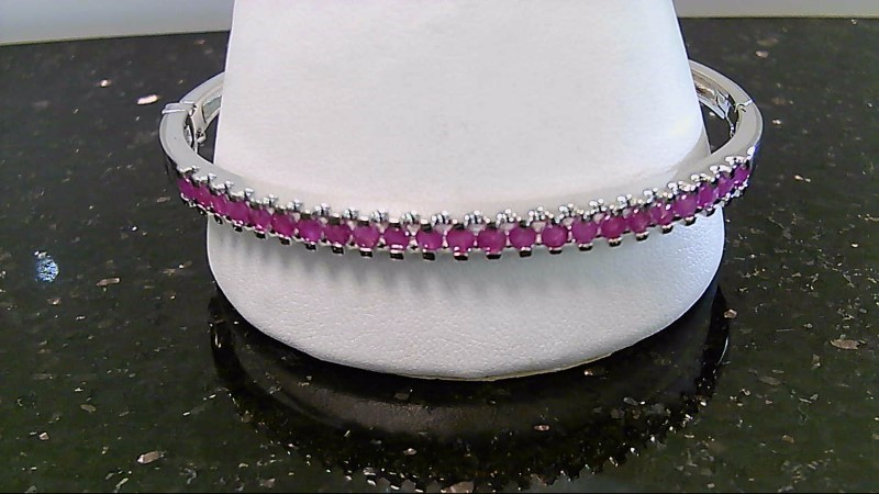Synthetic Ruby Silver-Stone Bracelet 925 Silver 15.7g