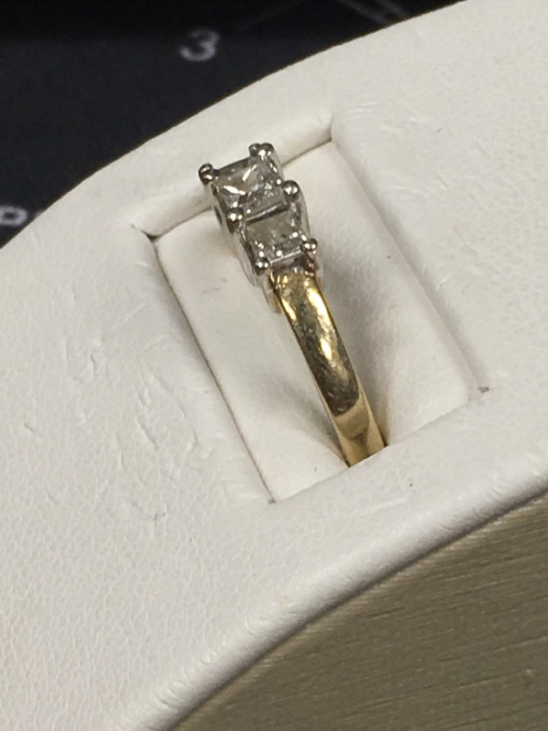 Lady's Gold-Diamond Anniversary Ring 3 Diamonds .50 Carat T.W. 14K Yellow Gold
