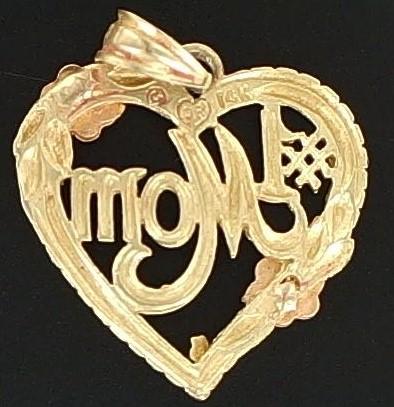 14K #1 MOM HEART PENDANT
