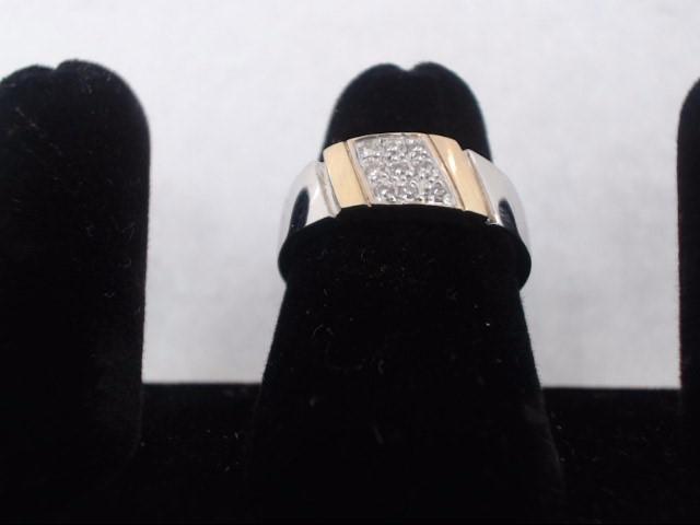 Lady's Diamond Cluster Ring 9 Diamonds .09 Carat T.W. 14K White Gold 4.1g