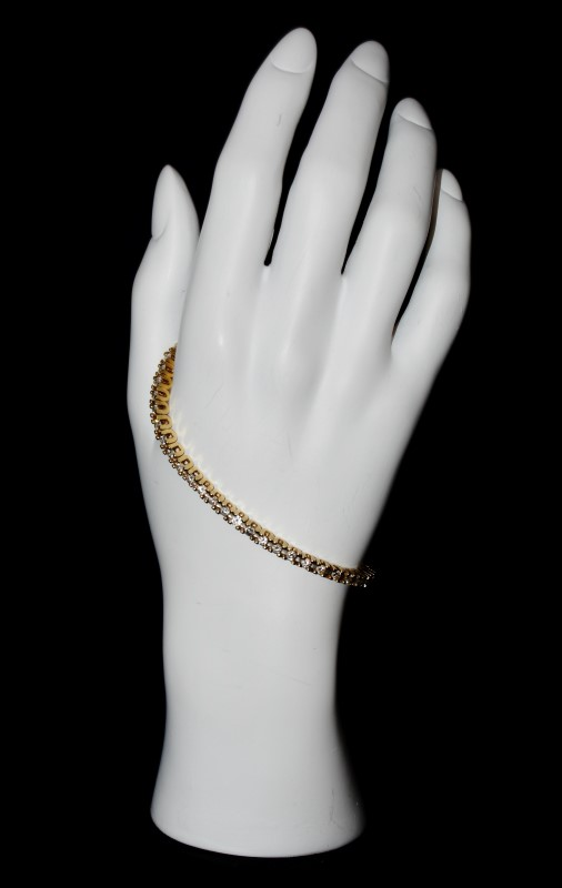 14K Yellow Gold Round Brilliant Diamond Tennis Bracelet 7.5""