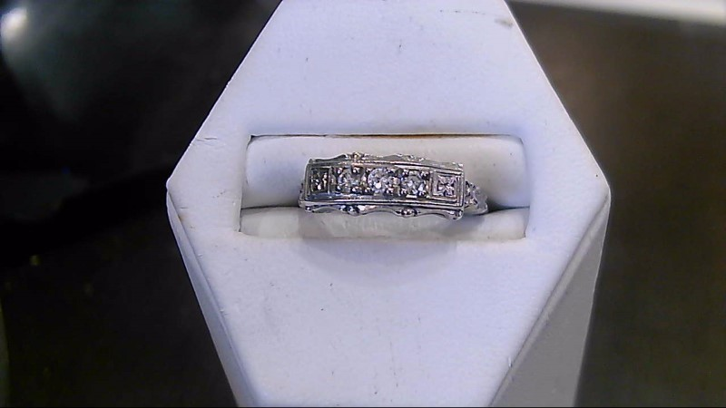 Lady's Diamond Fashion Ring 3 Diamonds .03 Carat T.W. 14K White Gold 2.1g