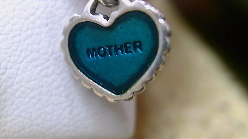 Pandora SS/Green Mother Heart Charm 925 Silver 3.91g