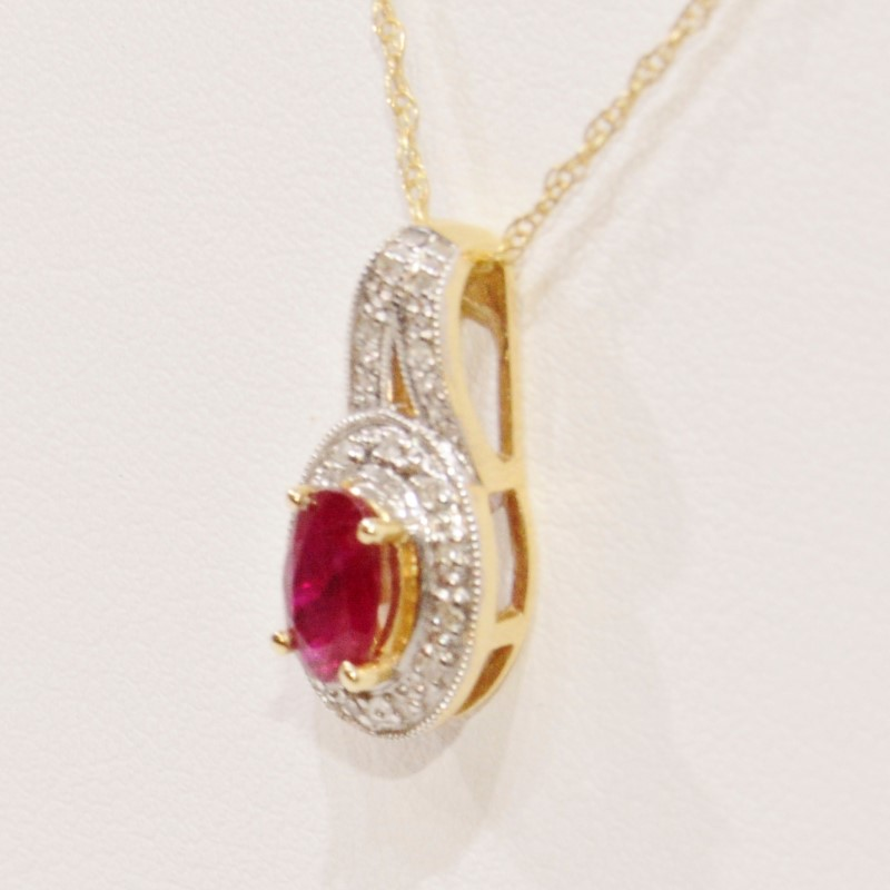 "18"" 14K Yellow Gold Natural Oval Ruby & Diamond Halo Style Pendant Necklace"