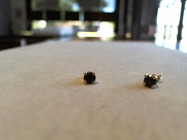Black Stone Gold-Stone Earrings 14K Yellow Gold 0.8g