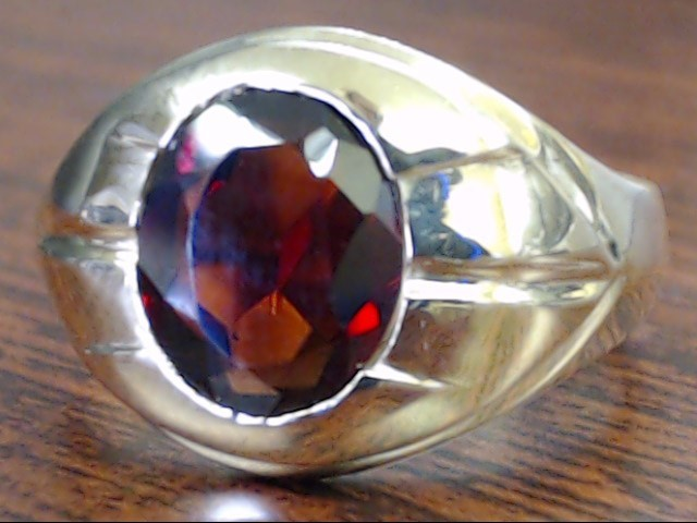 VINTAGE OVAL CUT GARNET RING SOLID REAL 10K YELLOW GOLD MEN SIZE 9.5