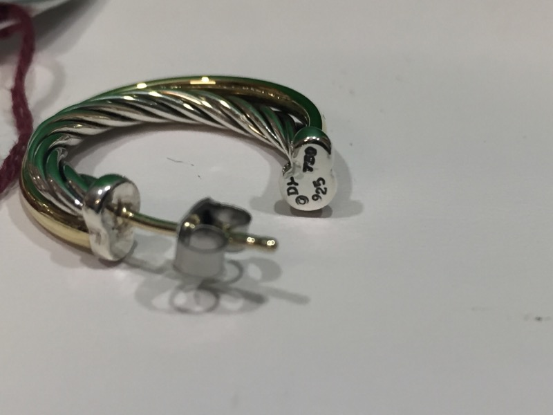 David Yurman 18K Gold .925 Silver Crossover Small Twisted Cable Hoop Earrings