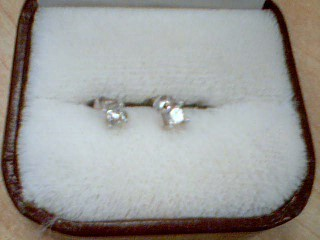 Gold-Diamond Earrings 2 Diamonds .20 Carat T.W. 14K White Gold 0.2g