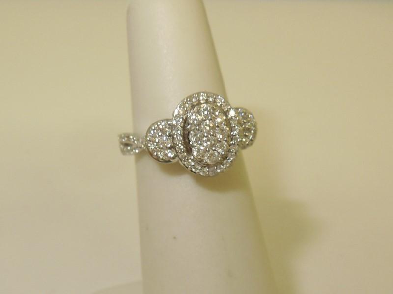 Lady's Diamond Cluster Ring 66 Diamonds .96 Carat T.W. 14K White Gold 3.6g