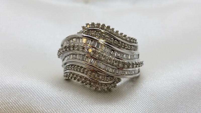 Lady's Diamond Cluster Ring 150 Diamonds 2.00 Carat T.W. 14K White Gold 6.7g