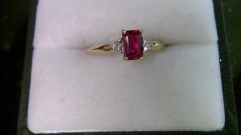 July Birthstone Simple Design Ruby Lady's Stone & Diamond Ring 7.25 Sz