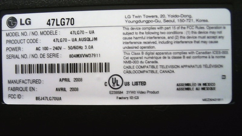LG Flat Panel Television 47LG70