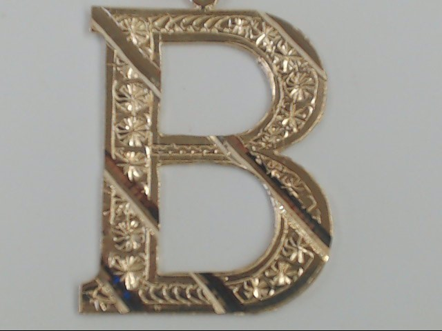 SOLID REAL 10K GOLD CHARM PENDANT LETTER B INITIAL MONOGRAM LARGE