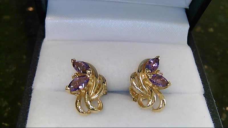 Lady's 14k yellow gold marquise amethyst /diamond earrings