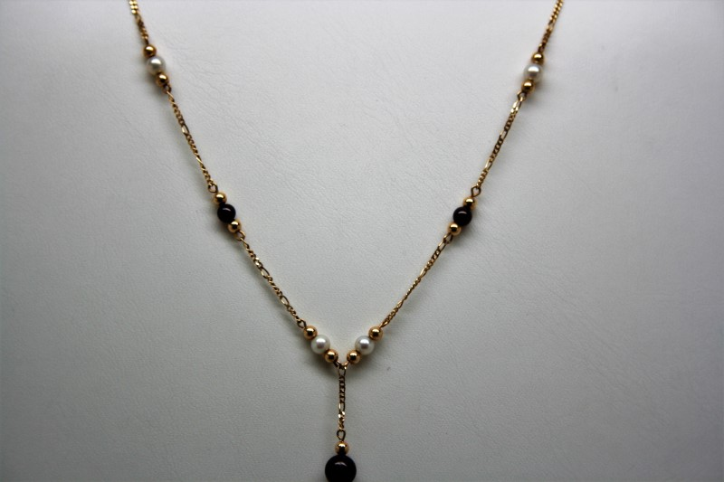 "16""  GARNET&PEARL BEADS NECKLACE 10K YELLOW GOLD"