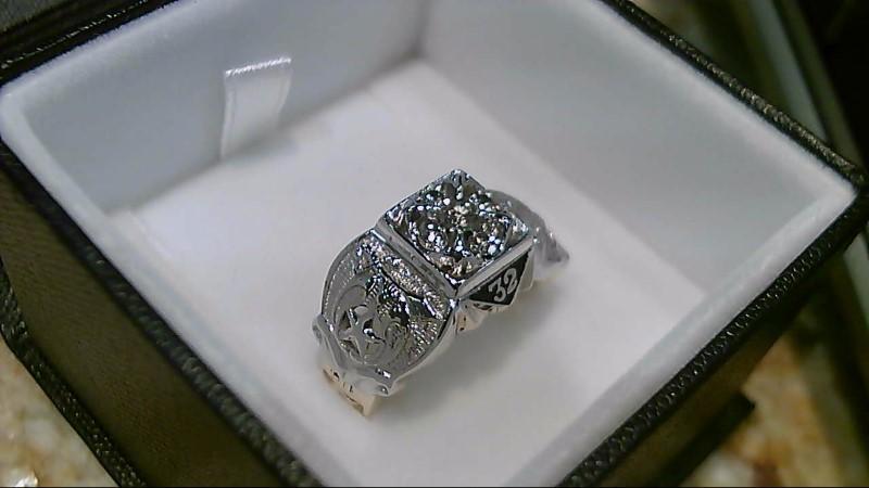 Gent's Diamond Fashion Ring 5 Diamonds .35 Carat T.W. 10K 2 Tone Gold 11.2g