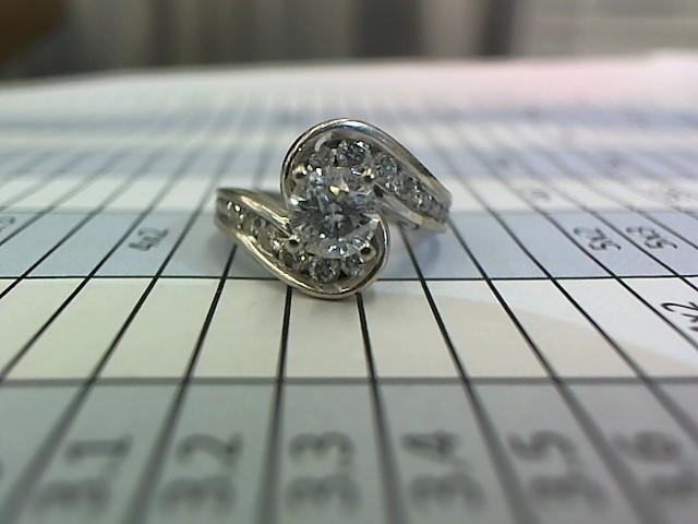 Lady's Diamond Fashion Ring 21 Diamonds 1.05 Carat T.W. 14K White Gold 5.3g