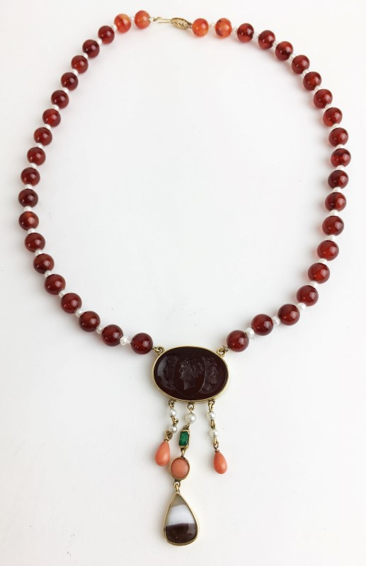 Carnelian Pearl Emerald Coral 14kt Necklace Custom Made