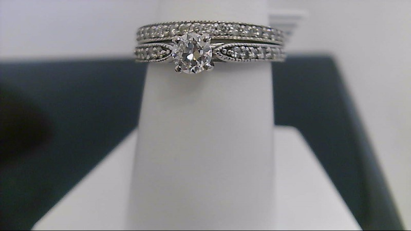 Lady's Diamond Wedding Set 35 Diamonds .47 Carat T.W. 14K White Gold 5.5g