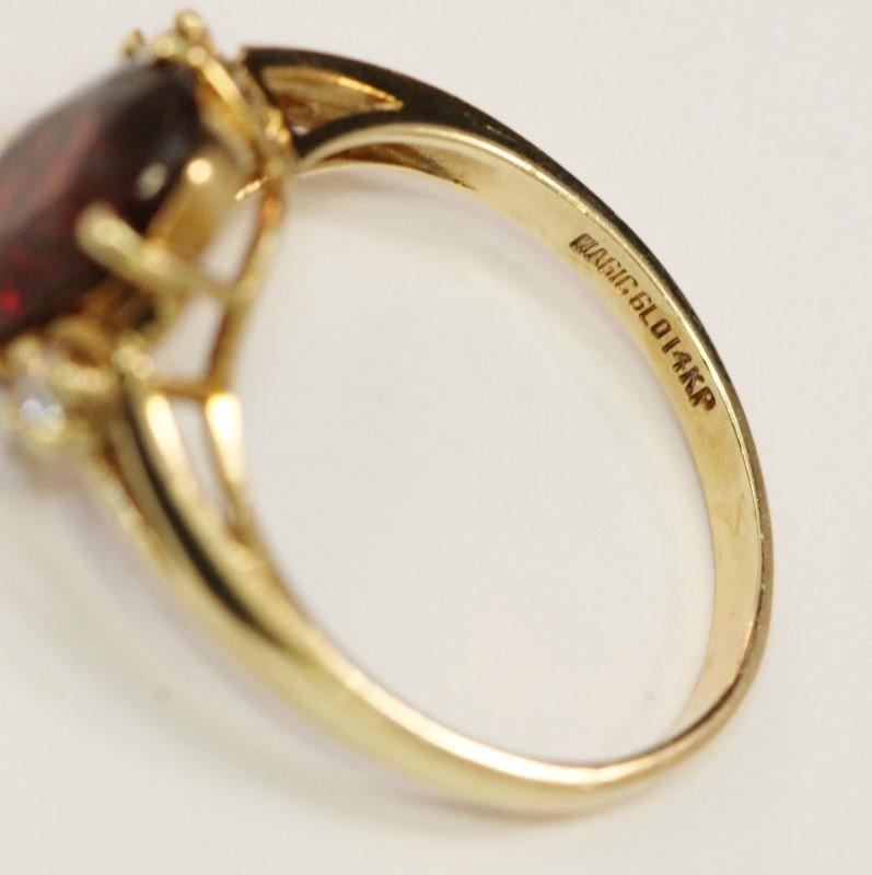 14K Yellow Gold Oval Cut Garnet and Diamond Ring Size 7.25