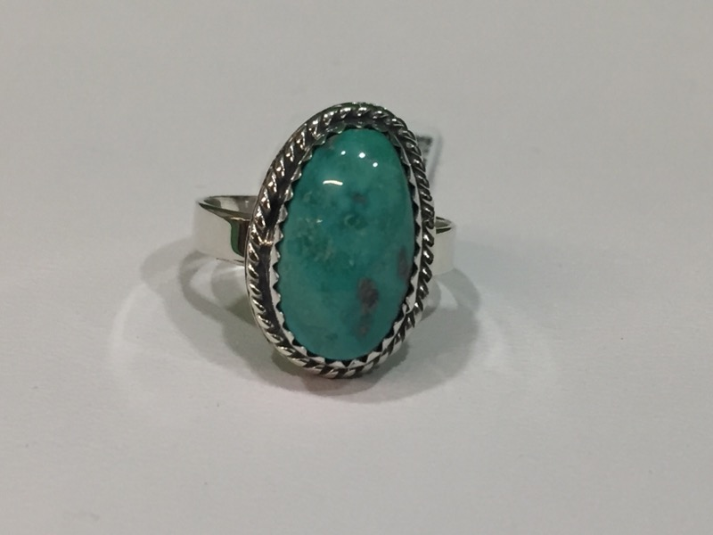 Turquoise Lady's Silver & Stone Ring 925 Silver 3.4g Size:5.5