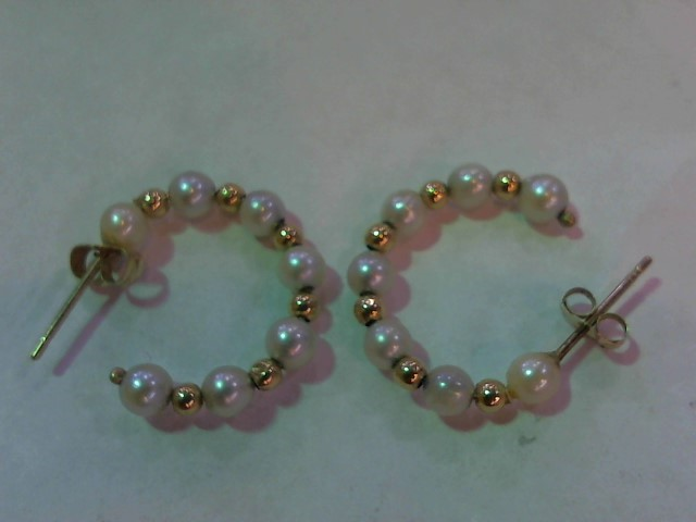 Synthetic Pearl Gold-Stone Earrings 14K Yellow Gold 1.5g