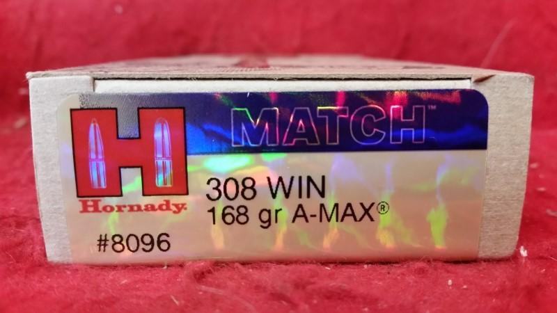 Hornady 308win Match 168gr A-Max - #8096